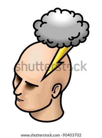 Head with storm cloud and lightning.