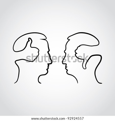 head with thumbd up and thumbs down - illustration
