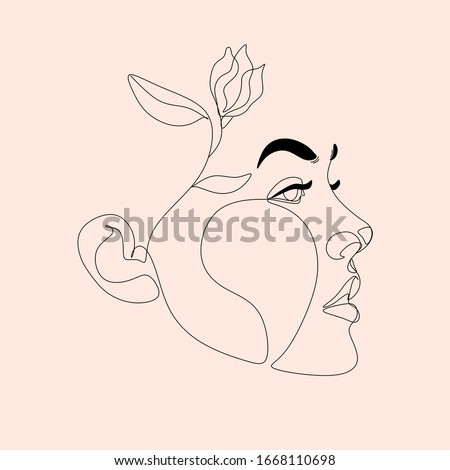 Head Woman Line Art  | Woman With Plants on Head Poster | Flower on head line drawing | Pretty young girl With Flower Head  | Line Drawing female