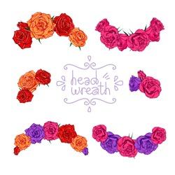 Head wreath set. Vector illustration