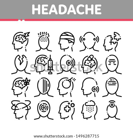 Headache Collection Elements Vector Icons Set Thin Line. Tension And Cluster Headache, Migraine And Brain Symptom Concept Linear Pictograms. Head Healthcare Black Contour Illustrations