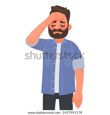 Headache. Fatigue or migraine. Upset man put his hand to his head. Problems at work. Vector illustration in cartoon style