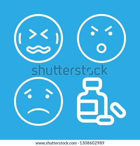 headache icons set with sad