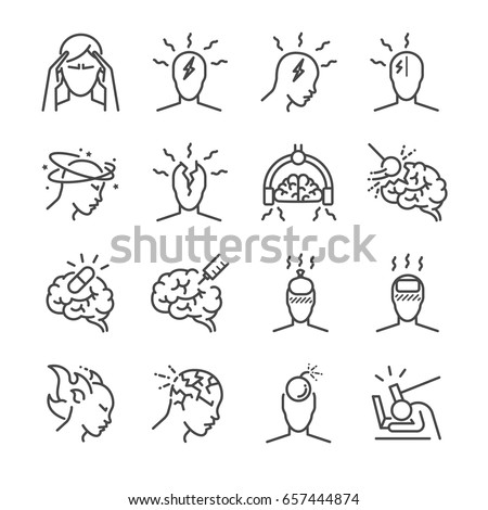 Headache line icon set. Included the icons as Tension headaches, Cluster headaches, Migraine, brain symptom and more.
