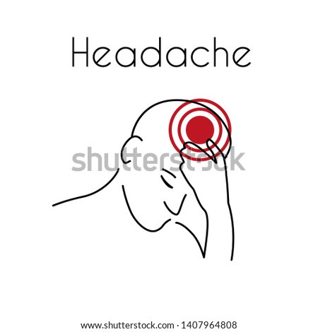 Headache linear icon. Vector abstract minimal illustration of young man with red spot on her head suffers from headache. Design template for medicine or therapy for headache