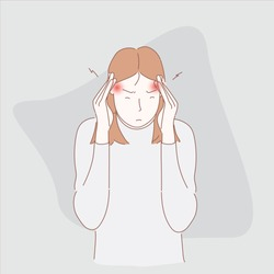 Headache migraine people.Hand drawn style vector design illustrations.