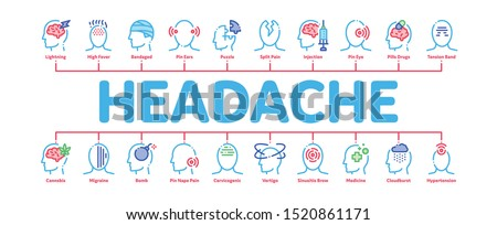 Headache Minimal Infographic Web Banner Vector. Tension And Cluster Headache, Migraine And Brain Symptom Concept Linear Pictograms. Head Healthcare Contour Illustrations