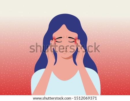 Headache. The woman having headache, migraine. Cartoon vector illustration.