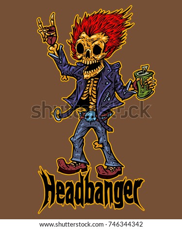 headbanger skeleton heavy metal