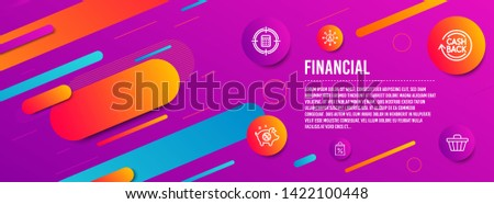 Header banner. Piggy sale, Shopping bag and Cashback icons simple set. Calculator target, Networking and Shop cart signs. Discounts, Supermarket discounts. Finance set. Line piggy sale icon. Vector