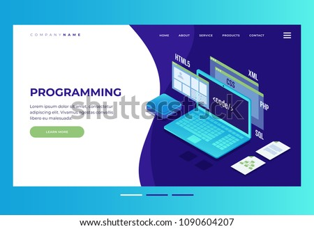 Header for website. Homepage. Concept of web development, programming and coding. Elements of interface and browser windows on monitor screen.Innovations and technologies. Vector illustration.