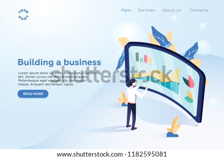 Header for website. Homepage. Strategy and planning. Financial review. Businessman standing in front of screen and looks at growth statistics. 3d isometric flat design. Vector illustration. Business