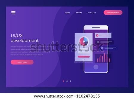 Header for website. Mobile UI/UX development design concept. Smartphone with interface elements. Digital industry. Innovation and technologies. Mobile app. Vector flat illustration.