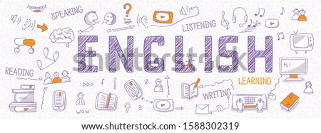 Header for websites about learning English language with outline icons, symbols, signs on white background. Illustration of book, dictionary, vocabulary, speaking, reading, writing, listening skills Foto stock ©