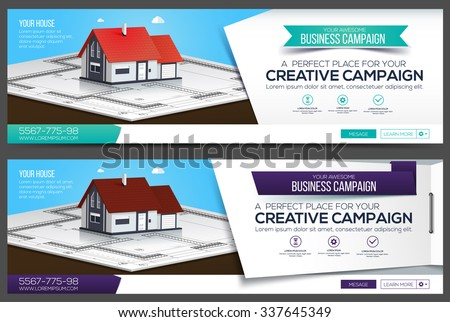 Header layout template with house, creative cover.