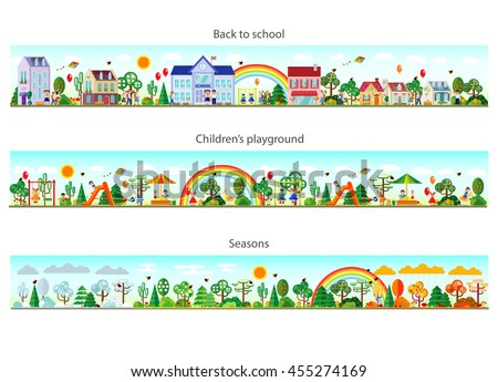 Header set in flat style. Website headers. Banner. Back to school. Children's playground. Seasons. Vector illustration. Buildings and nature elements big set.