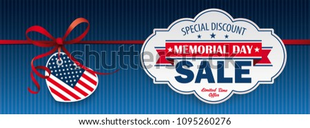 Header with heart and label for the Memorial Day Sale.  Eps 10 vector file.
