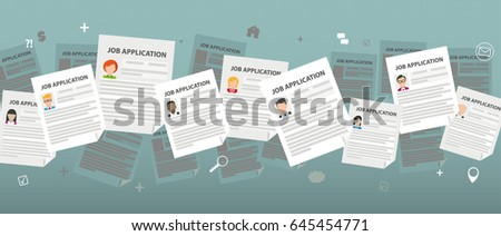 Header with job applications. Application. Eps 10 vector file.