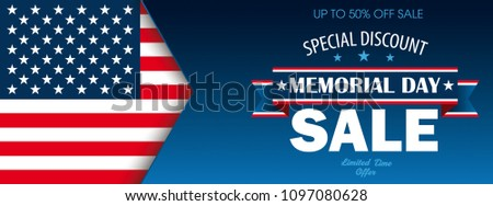 Header with USA Flag for the Memorial Day Sale . Eps 10 vector file.