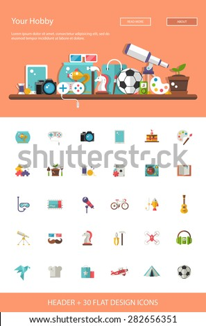 Header with vector modern flat design hobby icons and infographics elements set for your website illustration