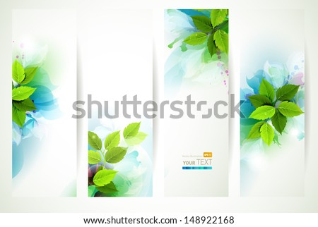 headers with fresh green leaves