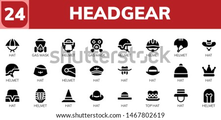 headgear icon set. 24 filled headgear icons.  Collection Of - Hat, Gas mask, Helmet, Top hat