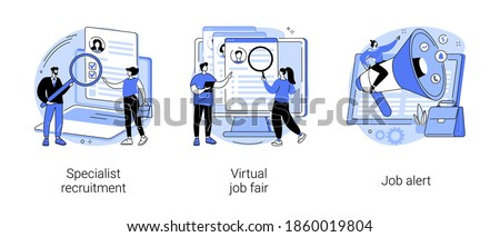 Headhunting abstract concept vector illustration set. Specialist recruitment, virtual job fair, job alert, human resources, digital hr, job offer, work opportunity information abstract metaphor.