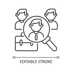 Headhunting linear icon. Human resources management, recruitment process thin line customizable illustration. Contour symbol. Hiring new employee. Vector isolated outline drawing. Editable stroke