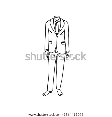 Headless mannequin dressed in men suit, cartoon. Vector illustration on white background. Mannequins standing in an attractive pose. Fashionable men's clothing in shop window.