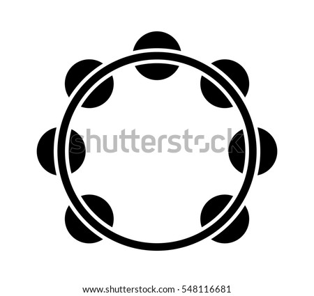 Headless tambourine musical instrument flat icon for music apps and websites