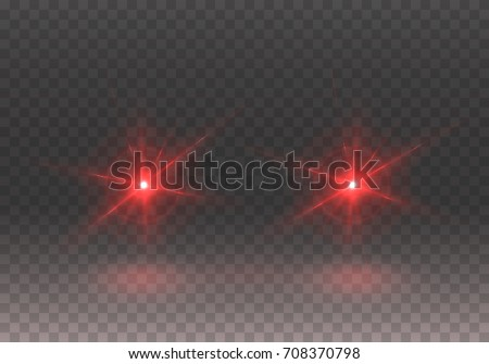 Headlights effect. Realistic red glow round car headlights isolated on transparent background. Vector bright transport lights effect for your design.