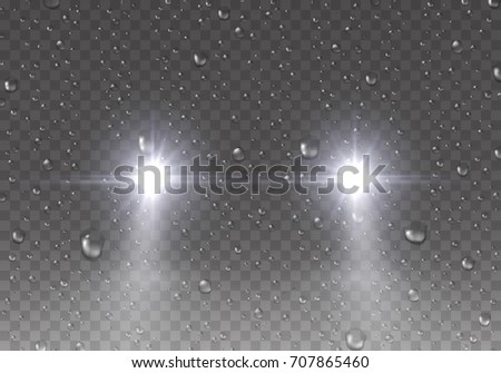 Headlights effect with rain drops on window glass surface. Realistic white glow car headlights and water droplets isolated on transparent background. Vector bright transport lights for your design.