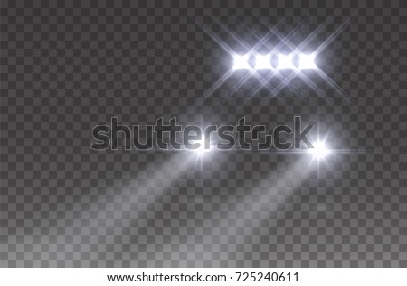 Headlights offroad flare effect front view. Realistic white glow rally car headlights isolated on transparent background. Vector led car light beams for race design