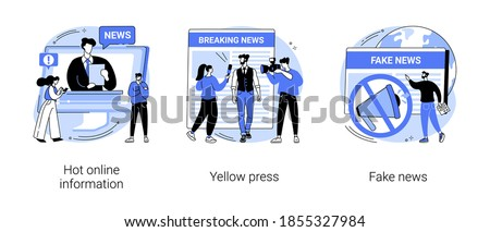 Headline content abstract concept vector illustration set. Hot online information, yellow press, fake news, breaking, paparazzi media, online magazine, celebrity scandal, rumors abstract metaphor.
