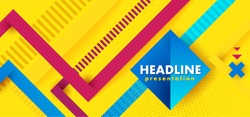 Headline presentation abstract yellow. Vector abstract background texture design, bright poster, banner yellow background, pink and blue stripes and shapes. Hipster modern geometric abstract.
