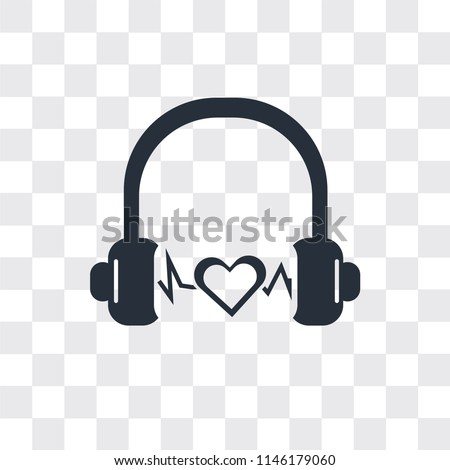 Headphone black shape vector icon isolated on transparent background, Headphone black shape logo concept