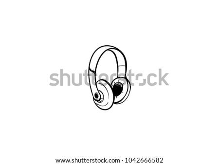 headphone doodle doodle icon vector