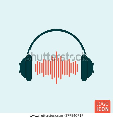 Headphone icon. Headphones with sound wave icon isolated, minimal design. Vector illustration