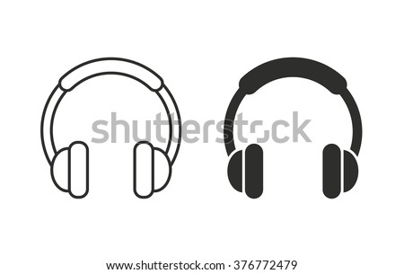 Headphone  icon  on white background. Vector illustration.