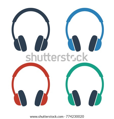 Headphone icons on white background. Vector illustration