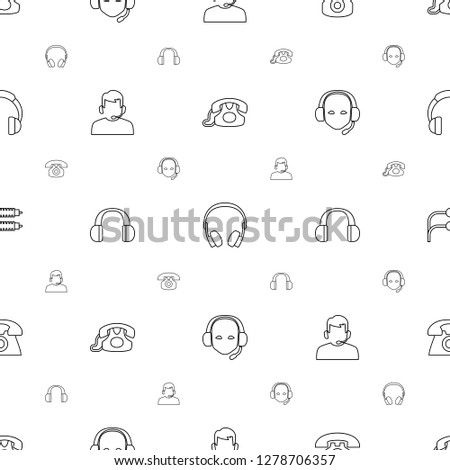 headphone icons pattern seamless white background. Included editable line desk phone, earphones, support, headset, earphone wire, headphones icons. headphone icons for web and mobile.