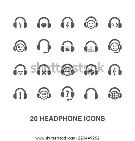 Headphone icons set.