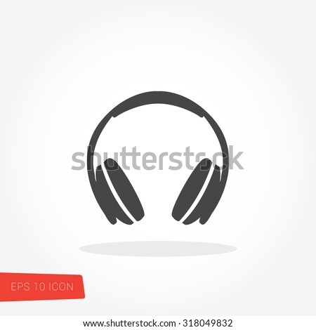Headphone Isolated Flat Web Mobile Icon / Vector / Sign / Symbol / Button / Element / Silhouette