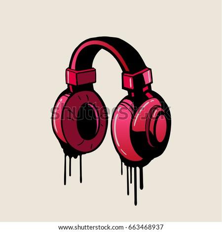 headphone pink graffiti style
