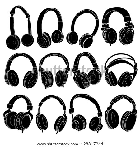 headphone silhouettes set in