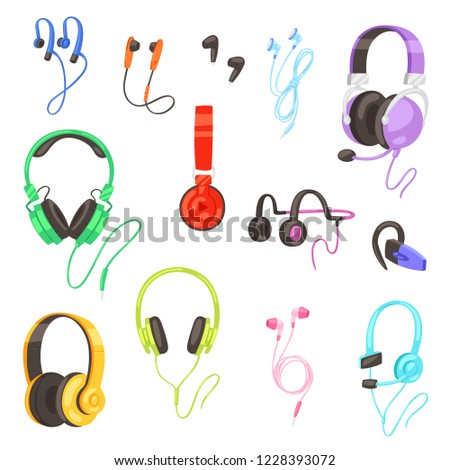 Headphone vector headset listening to stereo sound music earphones and modern audio dj equipment illustration set of headgear volume device technology isolated on white background