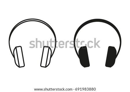Headphone vector icon. Black illustration isolated on white background for graphic and web design.