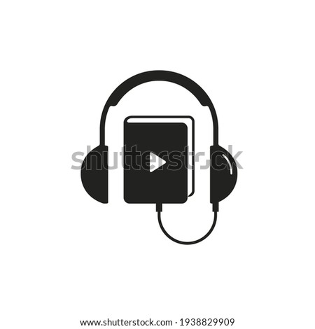 Headphones and book icon logo, audiobook online learning, Vector education concept. Flat design. Stockfoto ©