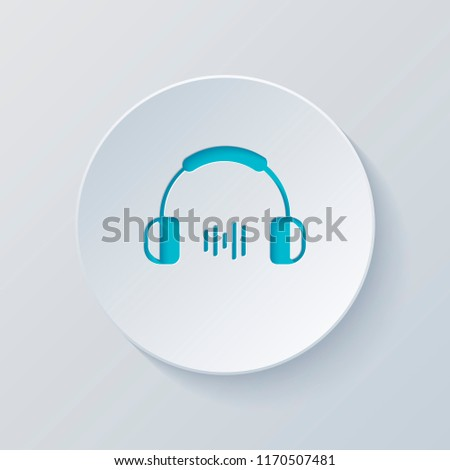 Headphones and music wave. Medium volume level. Simple icon. Cut circle with gray and blue layers. Paper style