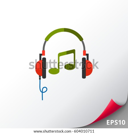 headphones and musical note icon